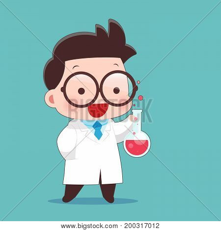 Cartoon Scientist With Test Tube And Science Experiments Idea Concept With Character Design Vector Illustration 10 EPS