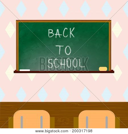 Classroom with green blackboard chairs. Back to school. Vector illustration