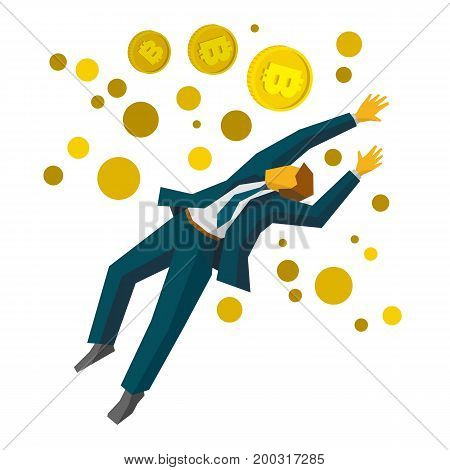 Jumping businessman catch a gold bitcoins. Business metaphors - cryptocurrency, financial success, profit growth, increase sales. Flat style vector clip art isolated on white background.