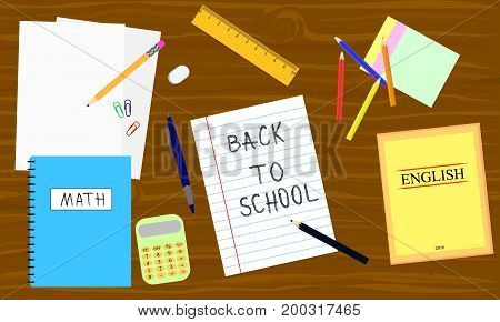 Back to school - table with school equipment. Book pencil calculator pen on the wooden table. Vector illustration