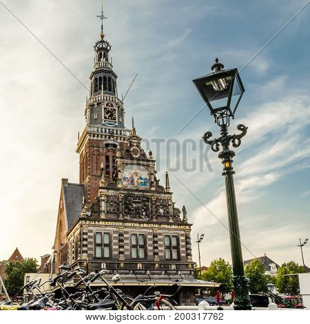 ALKMAAR THE NETHERLANDS - AUGUST 25 2013: Urban landscape in Alkmaar the Netherlands