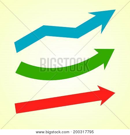 Set of colorful arrows on light yellow background. Vector illustration