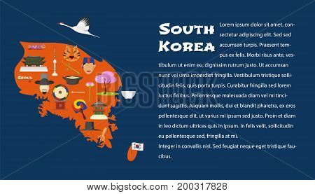 Map of South Korea in article template vector illustration design element. Icons with South Korean landmarks famous cultural objects palace food