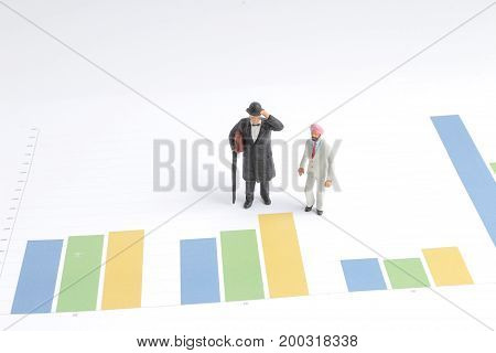 Min People Business Man Standing On Chart