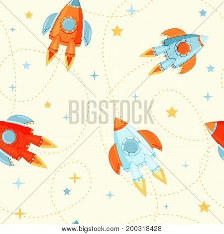 Seamless colorful space with cute rocket ships