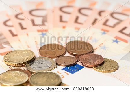 Fan from fifty euros money and cents many mass currency isolated on white background