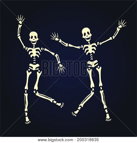 Two dancing skeleton. Vector illustration, isolated on black background.