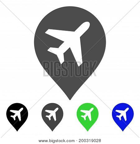 Airplane Marker flat vector icon. Colored airplane marker, gray, black, blue, green pictogram versions. Flat icon style for graphic design.