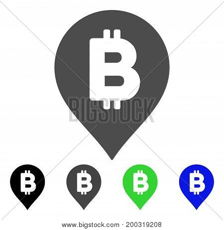 Bitcoin Map Marker flat vector pictogram. Colored bitcoin map marker, gray, black, blue, green icon variants. Flat icon style for web design.