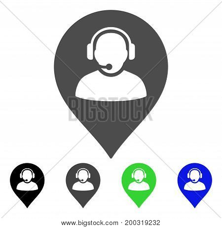 Call Center Marker flat vector pictograph. Colored call center marker, gray, black, blue, green icon variants. Flat icon style for application design.