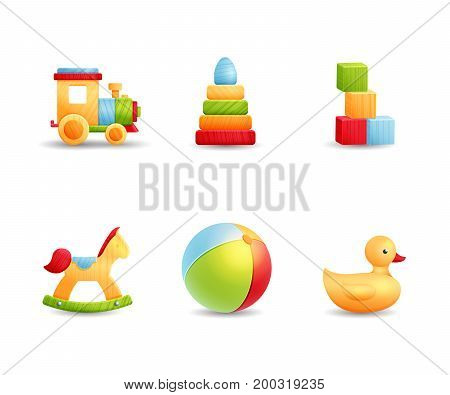 Bright wooden and rubber baby playing icons