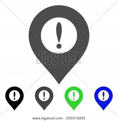 Caution Marker flat vector pictogram. Colored caution marker, gray, black, blue, green pictogram versions. Flat icon style for application design.