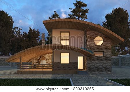 Photorealistic 3D render of the building in the open air.