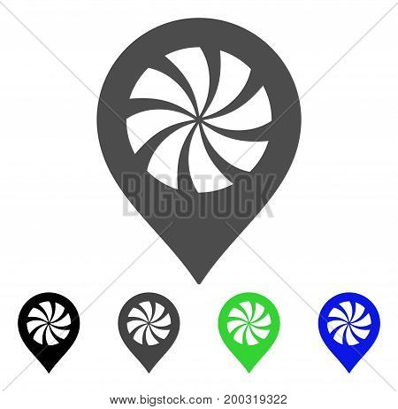 Cooler Fan Marker flat vector icon. Colored cooler fan marker, gray, black, blue, green pictogram versions. Flat icon style for graphic design.