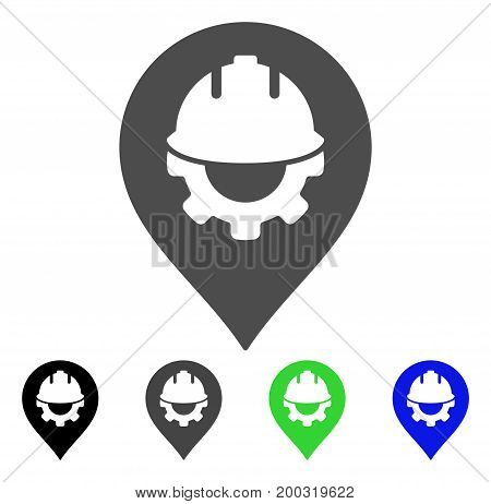 Development Helmet Marker flat vector pictogram. Colored development helmet marker, gray, black, blue, green icon versions. Flat icon style for application design.