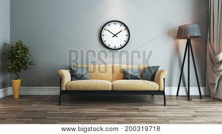 living room interior design with yellow and black seat and watch on wall 3D rendering