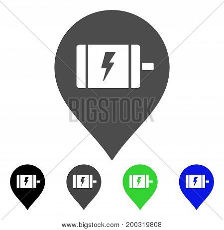 Electric Engine Marker flat vector icon. Colored electric engine marker, gray, black, blue, green icon variants. Flat icon style for web design.
