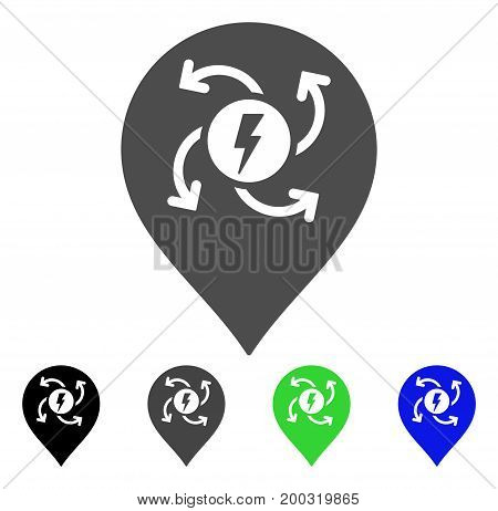 Electric Motor Marker flat vector illustration. Colored electric motor marker, gray, black, blue, green icon variants. Flat icon style for application design.