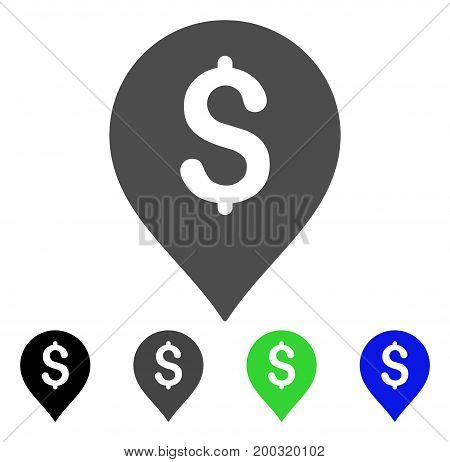 Financial Marker flat vector illustration. Colored financial marker, gray, black, blue, green pictogram versions. Flat icon style for application design.