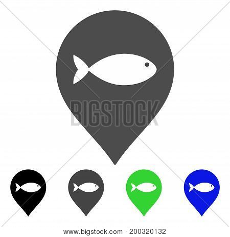 Fish Marker flat vector pictogram. Colored fish marker, gray, black, blue, green pictogram versions. Flat icon style for application design.