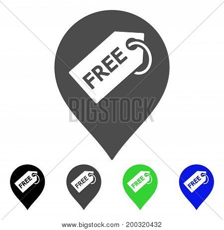 Free Tag Marker flat vector icon. Colored free tag marker, gray, black, blue, green icon variants. Flat icon style for application design.