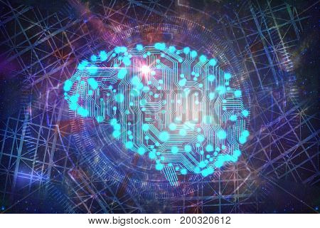 Abstract circuit brain background. Artificial intelligence concept. 3D Rendering