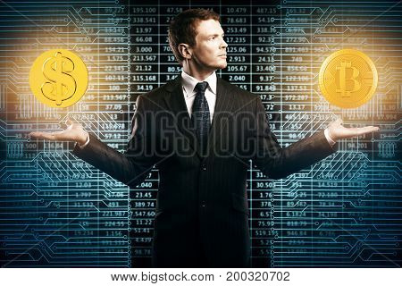 Businessman with glowing dollar and bit coins in hands on abstract circuit background. E-business and choice concept