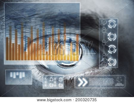 Abstract digital eye with business hologram. Future and biometrics concept. Double exposure