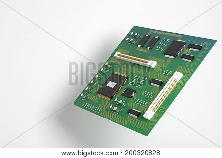 Side view of green motherboard on white background. Technology circuit equipment processor concept. 3D Rendering
