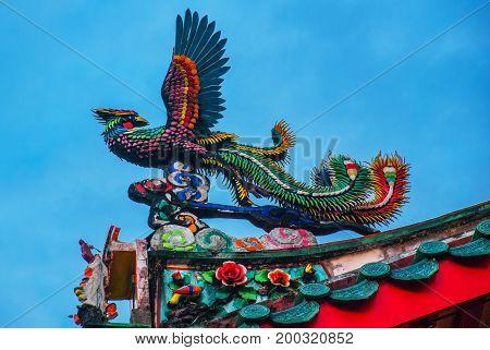 Dragon On The Roof Of Tua Pek Kong Chinese Temple In Chinatown. Kuching, Sarawak. Malaysia. Borneo