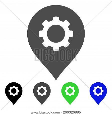 Gear Factory Marker flat vector illustration. Colored gear factory marker, gray, black, blue, green icon versions. Flat icon style for graphic design.