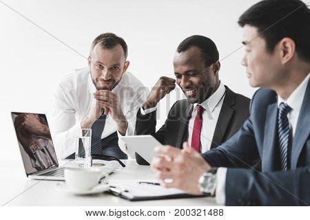 Multiethnic Businessmen Having Discussion