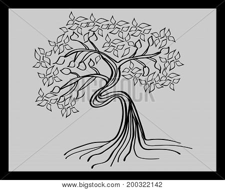 Black silhouette of a curved deciduous tree in a frame on a gray background. Sketch, minimalism