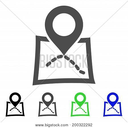 Map Marker flat vector icon. Colored map marker, gray, black, blue, green pictogram versions. Flat icon style for application design.