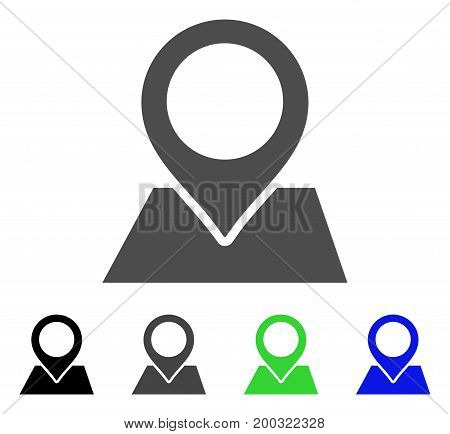 Map Pointer flat vector icon. Colored map pointer, gray, black, blue, green icon versions. Flat icon style for graphic design.