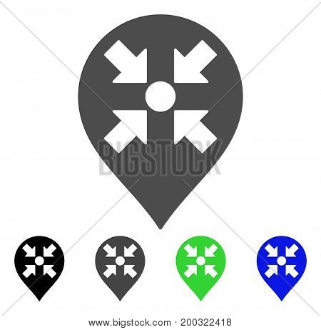 Meeting Point Marker flat vector illustration. Colored meeting point marker, gray, black, blue, green pictogram variants. Flat icon style for web design.