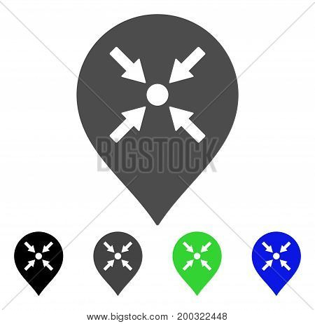 Meeting Point Marker flat vector pictogram. Colored meeting point marker, gray, black, blue, green pictogram variants. Flat icon style for graphic design.