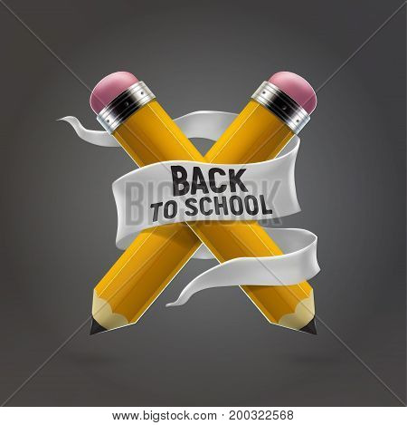 Yellow pencils crosswise and back to school lettering banner. Realistic 3d vector illustration. Education and creativity concept.