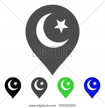 Muslim Symbol Marker flat vector illustration. Colored muslim symbol marker, gray, black, blue, green pictogram versions. Flat icon style for graphic design.