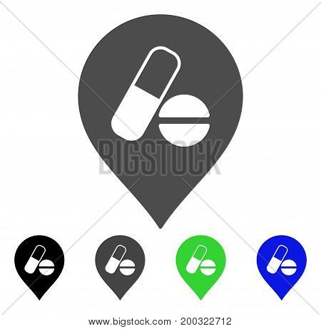 Pharmacy Marker flat vector pictograph. Colored pharmacy marker, gray, black, blue, green icon variants. Flat icon style for application design.