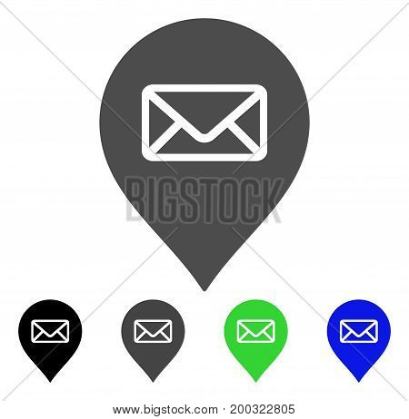 Post Office Marker flat vector pictograph. Colored post office marker, gray, black, blue, green pictogram versions. Flat icon style for application design.
