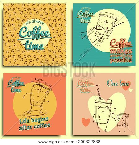 Collection of Coffee Design Elements.Vector Illustration with characters