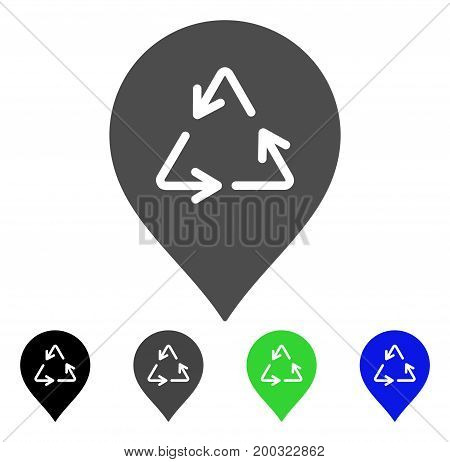 Recycling Marker flat vector icon. Colored recycling marker, gray, black, blue, green icon variants. Flat icon style for application design.