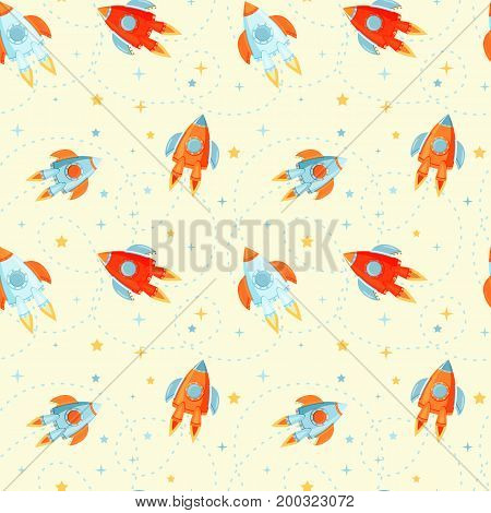Cute rocket ships childish seamless pattern in cartoon style