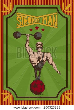 vector illustration of hand drawn man on a vintage red orange and green poster with the inscription strong man