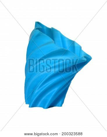Objects printed by 3d printer Isolated on white background. Bright colorful object. Vase bluecolor. Automatic three dimensional performs plastic modeling. Modern 3D printing technology.