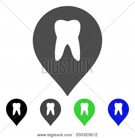 Stomatology Marker flat vector pictogram. Colored stomatology marker, gray, black, blue, green pictogram versions. Flat icon style for graphic design.