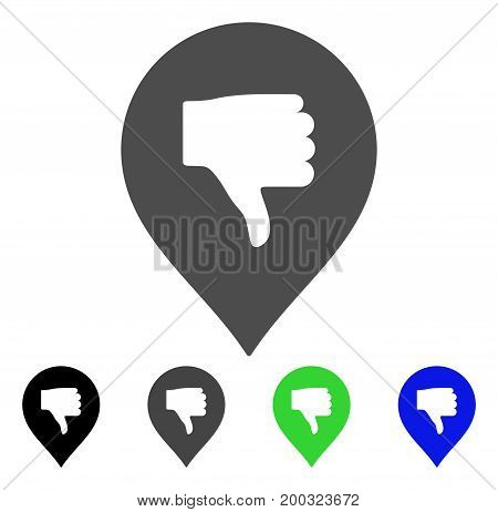 Thumb Down Marker flat vector illustration. Colored thumb down marker, gray, black, blue, green icon versions. Flat icon style for application design.