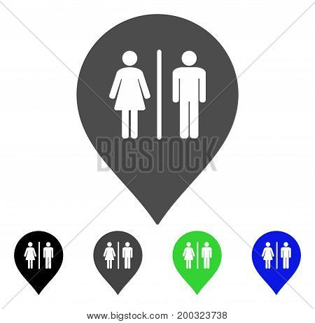 Toilet Marker flat vector pictograph. Colored toilet marker, gray, black, blue, green icon versions. Flat icon style for graphic design.