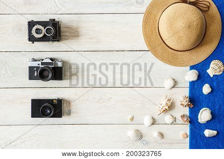 Tourism objects isolated top view no people composition